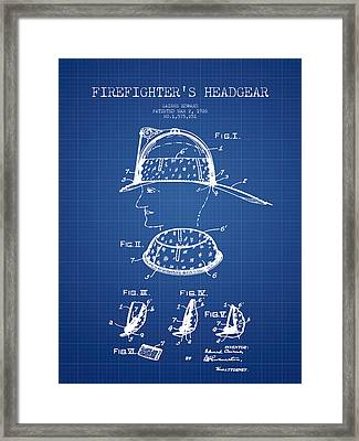 Firefighter Headgear Patent Drawing From 1926 - Blueprint Framed Print by Aged Pixel