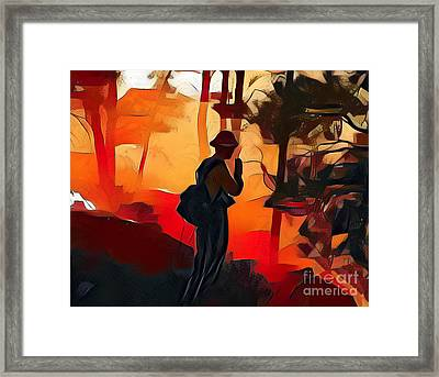 Firefighter On White Draw Fire Framed Print