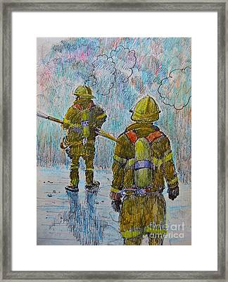 Firefighters In Action Framed Print by John Malone