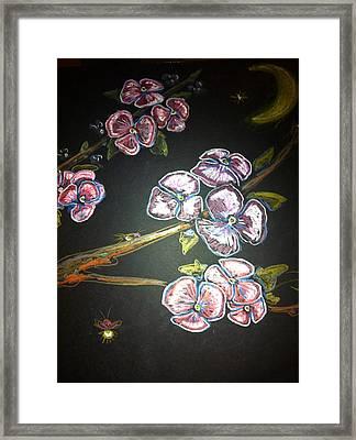 Fireflies And Dogwood Framed Print