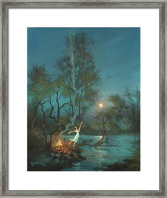Fireflies And Moonlight Framed Print