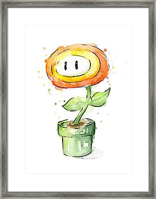 Fireflower Watercolor Painting Framed Print