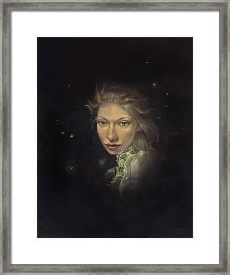 Firefly Fairy Framed Print by Lee Lynch