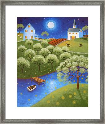 Firefly Lake Framed Print by Mary Charles