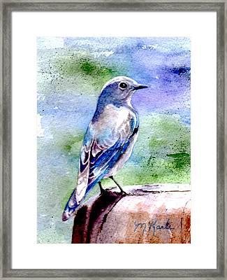 Firehole Bridge Bluebird - Female Framed Print