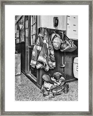 Fireman - Always Ready - Black And White Framed Print by Paul Ward