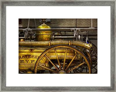 Fireman - Piano Engine - 1855  Framed Print by Mike Savad