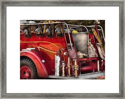 Fireman - Ready For A Fire Framed Print by Mike Savad