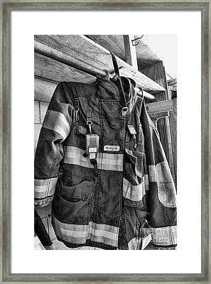 Fireman - Saftey Jacket Black And White Framed Print