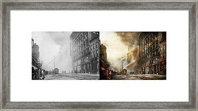Fireman - Brooklyn Ny - Surpirse 1909 - Side By Side Framed Print by Mike Savad
