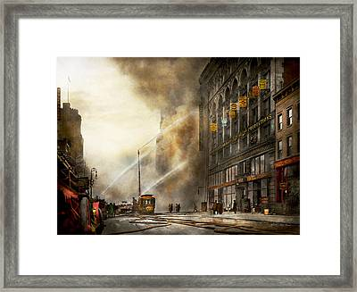 Fireman - Brooklyn Ny - Surprise 1909 Framed Print by Mike Savad