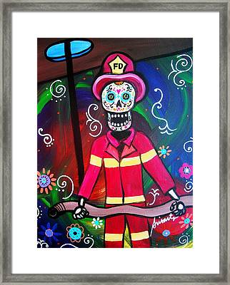 Fireman Dia De Los Muertos Framed Print by Pristine Cartera Turkus