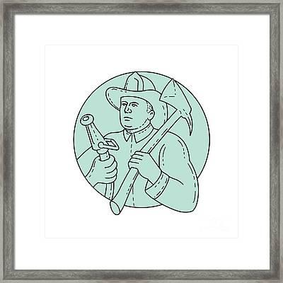 Fireman Firefighter Axe Hose Circle Mono Line Framed Print by Aloysius Patrimonio