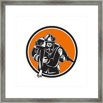 Fireman Firefighter Saving Girl Circle Woodcut Framed Print