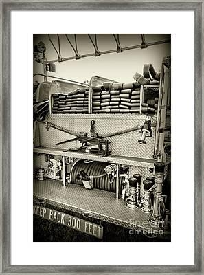 Fireman-keep Back 300 Feet Black And White Framed Print