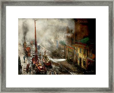 Fireman - New York Ny - Big Stink Over Ink 1915 Framed Print by Mike Savad