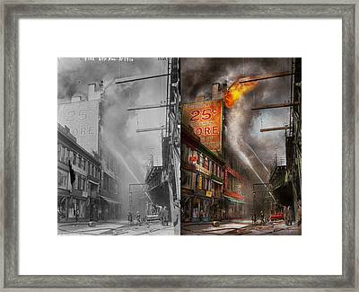 Fireman - New York Ny - Show Me A Sign 1916 - Side By Side Framed Print