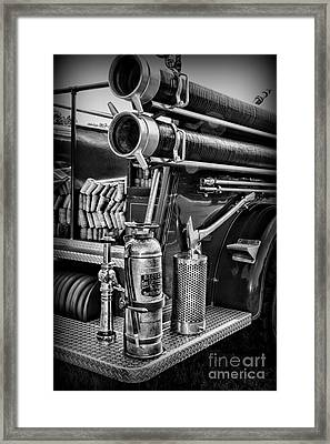 Fireman Things On The Truck Black And White Framed Print