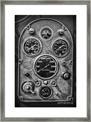 Fireman-vintage Control Panel Black And White Framed Print