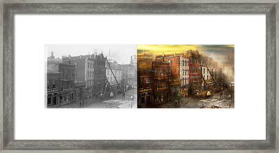 Fireman - Washington Dc - Fire At Bedell's Bedding 1915 - Side By Side Framed Print by Mike Savad