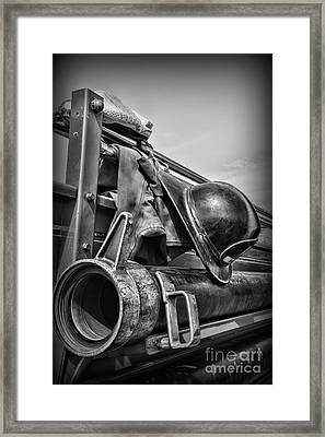 Fireman-we Are Always Ready Black And White Framed Print