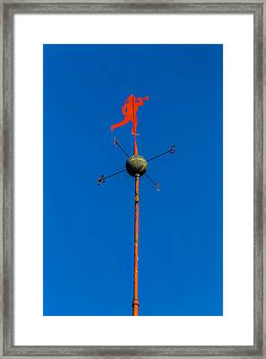 Fireman Weather Vane Framed Print by Garry Gay