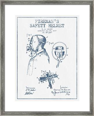 Firemans Safety Helmet Patent From 1889 - Blue Ink Framed Print by Aged Pixel