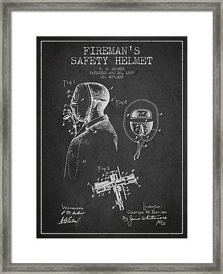 Firemans Safety Helmet Patent From 1889 - Dark Framed Print by Aged Pixel