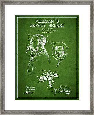 Firemans Safety Helmet Patent From 1889 - Green Framed Print by Aged Pixel