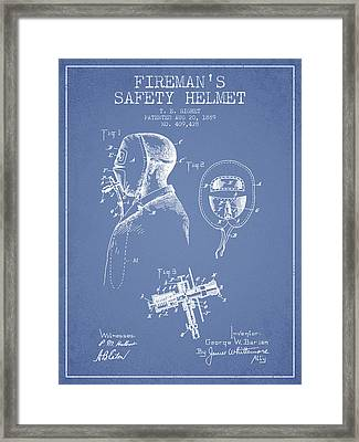 Firemans Safety Helmet Patent From 1889 - Light Blue Framed Print by Aged Pixel