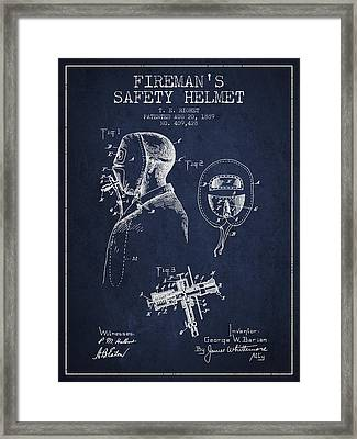 Firemans Safety Helmet Patent From 1889 - Navy Blue Framed Print