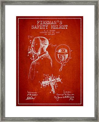 Firemans Safety Helmet Patent From 1889 - Red Framed Print by Aged Pixel