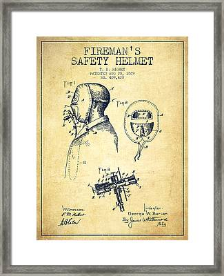 Firemans Safety Helmet Patent From 1889 - Vintage Framed Print by Aged Pixel