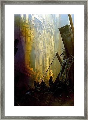 Firemen And Rescue Workers Conduct Framed Print by Everett