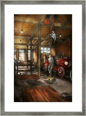 Firemen - Answering The Firebell 1922 Framed Print by Mike Savad