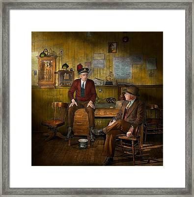 Firemen - Sharing His Wisdom - 1942 Framed Print by Mike Savad