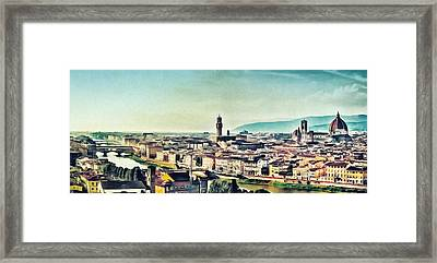 Firenze - Florence Skyline Art Painting Framed Print by Wall Art Prints