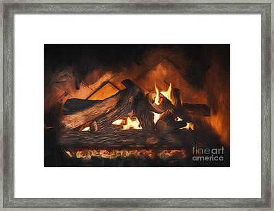 Fireplace  ... Framed Print by Chuck Caramella