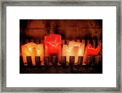 Framed Print featuring the photograph Fireplace Candles by Jim Hughes