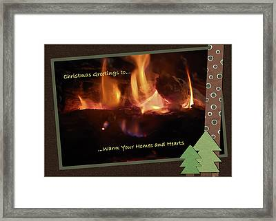 Fireside Christmas Greeting Framed Print by DigiArt Diaries by Vicky B Fuller