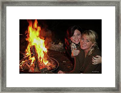 Framed Print featuring the photograph Fireside Sisterly Love Night Photography Art by Reid Callaway