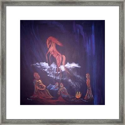 Fireside Tales Framed Print by Rhonda Myers