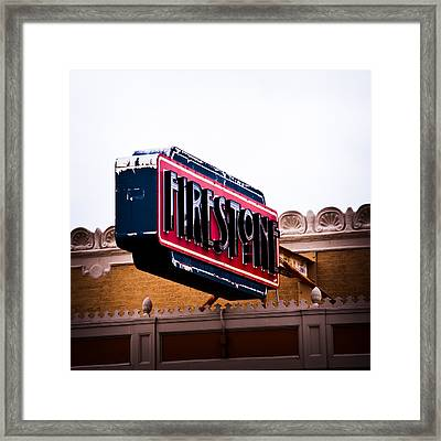 Firestone Horizontal Neon Framed Print by David Waldo