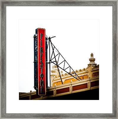 Firestone Vertical Neon Framed Print by David Waldo