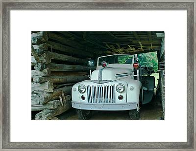 Firetruck In A Barn Framed Print