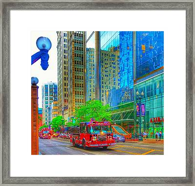 Framed Print featuring the photograph Firetruck In Chicago by Marianne Dow