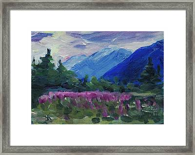 Framed Print featuring the painting Fireweed At Outer Point Alaska by Yulia Kazansky