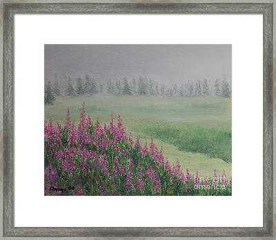 Framed Print featuring the painting Fireweeds Still In The Mist by Stanza Widen