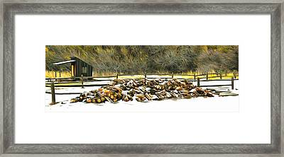 Framed Print featuring the photograph  Floyd Snyder by Firewood in the Snow at Fort Tejon