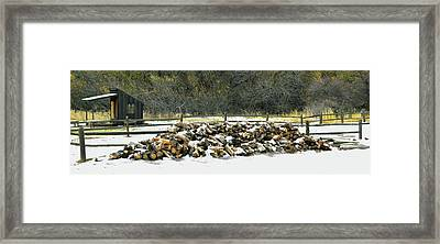 Framed Print featuring the photograph Firewood In The Snow At Fort Tejon by Floyd Snyder